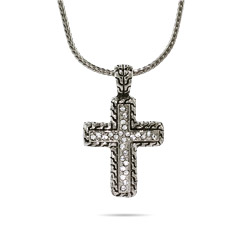 Designer Inspired Bali Style CZ Cross Necklace